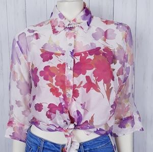 90s sheer floral  button blouse
